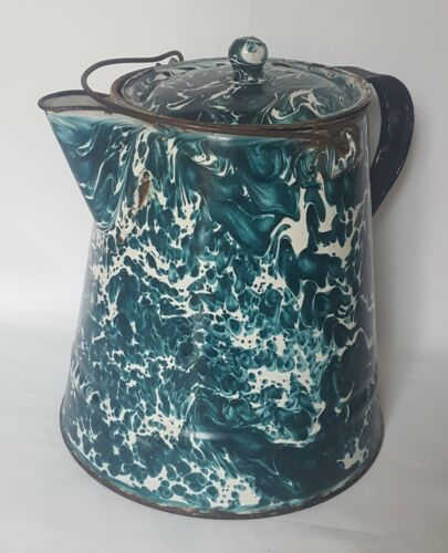 Antique Enamelware / Graniteware Large Chrysolite Coffee Pot