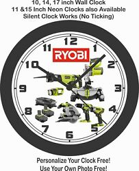 RYOBI POWER TOOLS WALL CLOCK-ADD COMPANY NAME FREE!