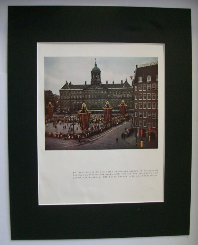 Print Holland Queen Juliana 1948 Investiture Ceremony Bookplate 11x14 Matted