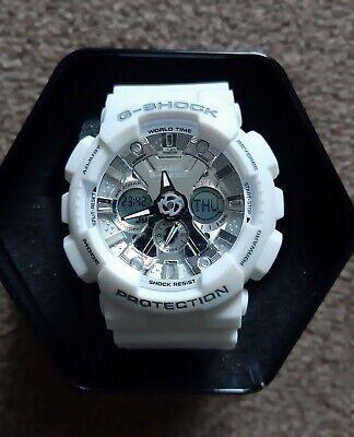 Casio G-shock protection white wrist watch 20 bar shock resistant GA-120 in tin