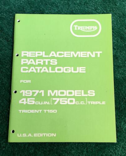 NOS ORIGINAL 1971 TRIUMPH MOTORCYCLE PARTS MANUAL TRIDENT 750 T150 CATALOG