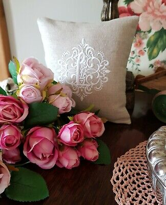 CUSHION PERSONALISED EMBROIDERED WEDDING GIFT FRENCH LINEN MONOGRAM