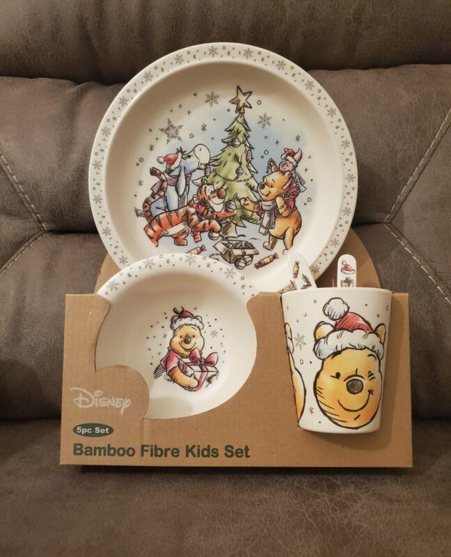 Disney Winnie the Pooh Christmas Holiday Bamboo Fibre Kids 5 pc Set Brand New