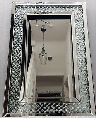 Flotante Cristal Grande Brillante Plata Espejo de Pared 60X90cm