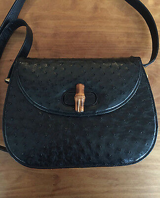 Vintage Black Gucci Ostrich Shoulder Bag