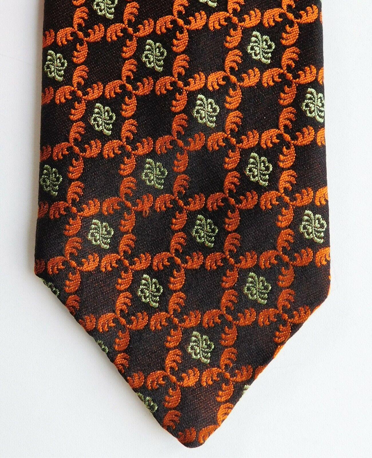 Bright Tropiccadilly silk tie Airey & Wheeler vintage 1970s orange brocade