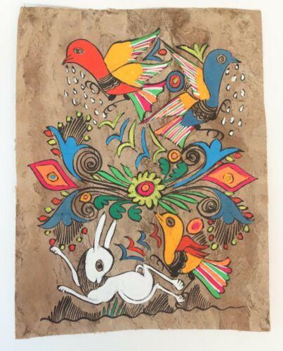 """Mexican Folk Art Amate Bark Painting 11"""" x 8-1/2"""" Vtg Rabbit & Bird Flower Aztec"""