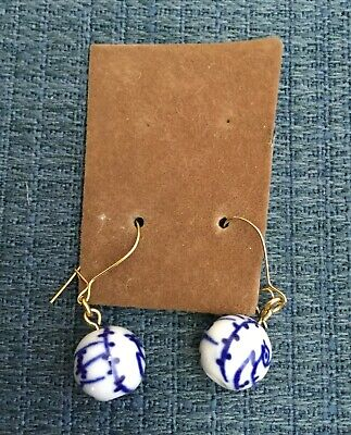 CHINESE BLUE & WHITE PORCELAIN BEAD Pierced Wire Dangle Earrings • NWOT