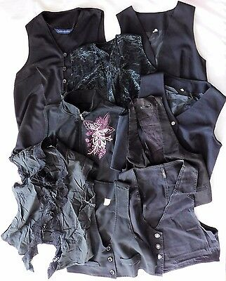 9 girls ladies dark waistcoats job lot theatre costume fancy dress school play B