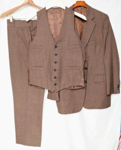LikeNew 1981 Vintage_3-Piece Floating Canvas Suit_Brown_Plaid_Sz.40R_Pants 35x30