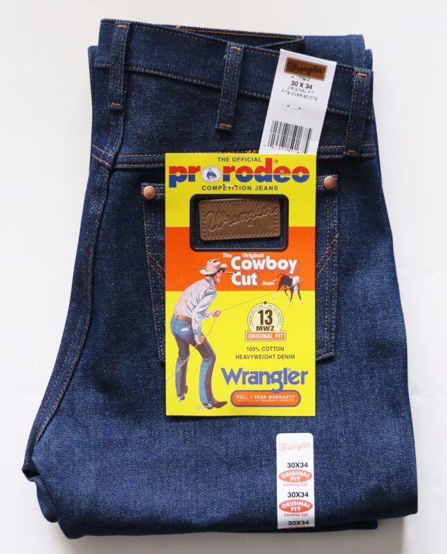 New Wrangler Cowboy Cut 13mwz Original Fit Jeans Rigid Indigo Men