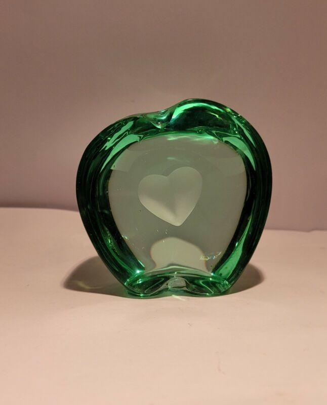 Vintage Green Crystal Glass Apple Heart Paperweight Art