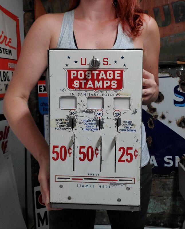 Vintage U.S. Postage Stamp Vending Machine 50, 50, & 25 Cent Slots Machine & Key