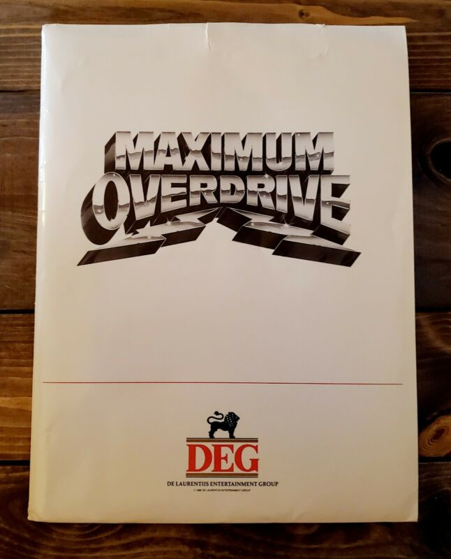 """1986 """"MAXIMUM OVERDRIVE"""" Stephen King MOVIE PRESS KIT With (7) Photos In FOLDER"""