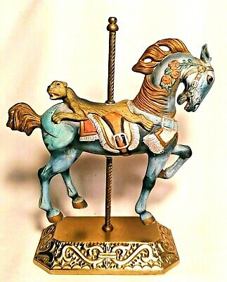 """Blue Bisque Carousel Horse Heavy Brass Base Cat Saddle 9.5"""" Tall Fast Ship"""