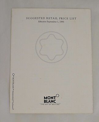 Montblanc Pen and Accessory Dealer Price List Vintage 1991 Tri-Fold PLM16269-991