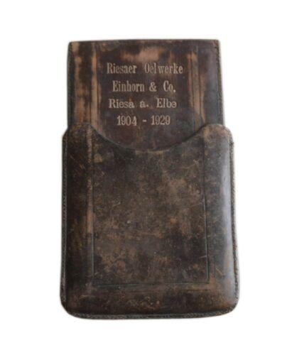 Antique German Leather Case Papers Riesaer Oel werke Einhorn & Co. 1930s
