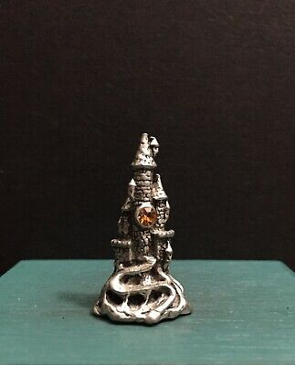 Comstock CCI Pewter Metal Castle Tower Citrine Orange Jewel Miniature Figurine