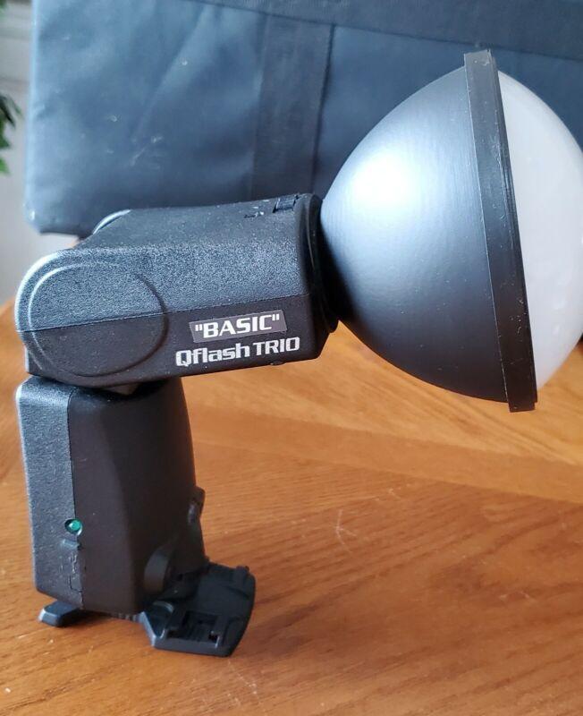 Quantum Qflash Trio QF8N Flash for Nikon Reflector Diffuser Cables & Turbo SC