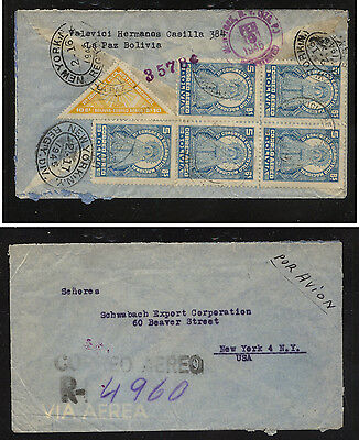 Bolivia  registered cover to  US   1945             KEL09131