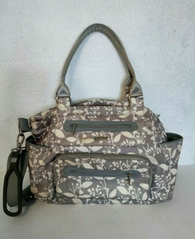JJ Cole Baby Diaper Bag Large Capacity Tote Travel Bag Changing Pad Light Gray