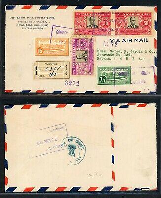 Nicaragua 75th Ann Postal History: LOT #31 1939 REG Air GRANADA - HABANA $$$$