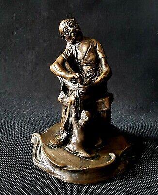 Vintage Antique Heavy Cold Cast Bronze Effect Statue Figurine Hand Signed P.Dunn
