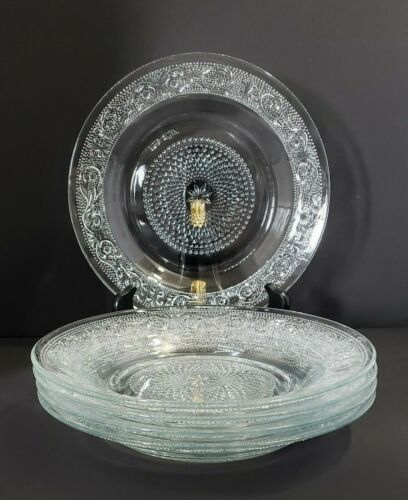 Vintage Clear Pressed Glass Dinner Plates (Set of 5)