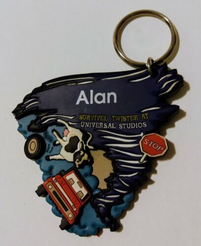 Twister Ride It Out Alan Rubber Name Keychain Universal Studios Hard to Find