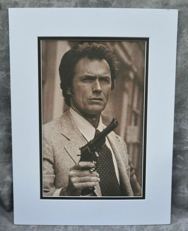 "Clint Eastwood Double-Matted Heavy Stock Photo Display 12"" x 16"" ""Dirty Harry"""