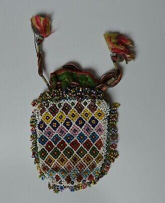 Fine Old Asian Vintage Bead work purse bag antique textiles