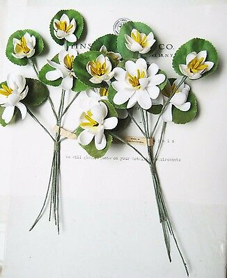2  Antique Vintage Water White Lily Millinery Hat Flower Original Tag UNUSED