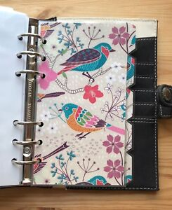 Filofax Personal Organiser Planner - Pretty Colourful Bird Dividers - Laminated