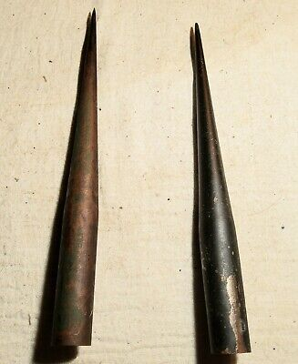 2 ANTIQUE LATE 1800's ALL BRASS LIGHTNING ROD SPIKES IN ORIGINAL CONDITION 8