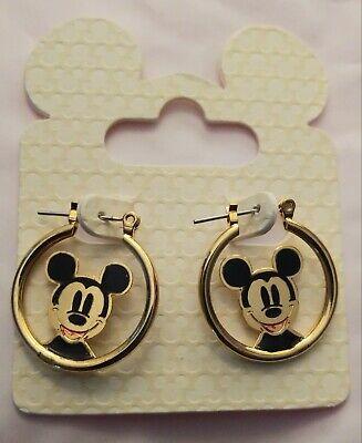 Brand New Disney Parks Vintage Faced Mickey Mouse Gold Platted Hoop Earrings  Disney Hoop Earring