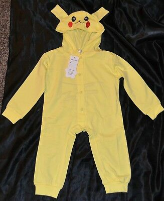 Pikachu Pokemon Halloween Costumes Fits Child Kids Size Babies 3-4-5-6 M Months - Infant Pikachu Halloween Costume