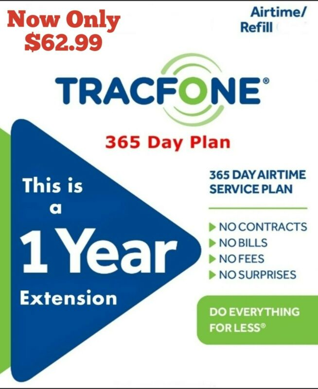 Now $58.99 Tracfone 1 year Extension/ Tracfone 365 Days Refill Digital transfer