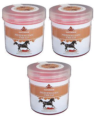 Pferdebalsam Chili Gel 3x 250ml Pferdegel Pferdesalbe Muskeln Entspannung Creme
