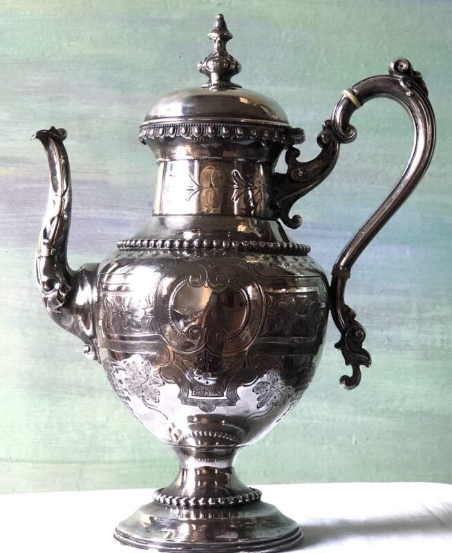 Antique Victorian Silverplate Coffee Tea Pot Pitcher