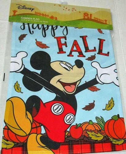 "DISNEY GARDEN FLAG 12.5""x 18""  HAPPY FALL/MICKEY MOUSE W/ FALLING LEAVES"