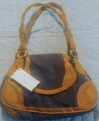 Nicoli Beige Woven Linen Cotton Beige Leather Trim Purse Shoulder Bag.
