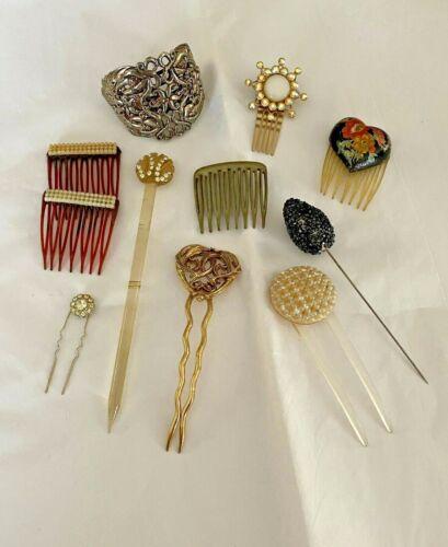 Eleven Vintage/Antique Hair Pieces in Very Good Condition
