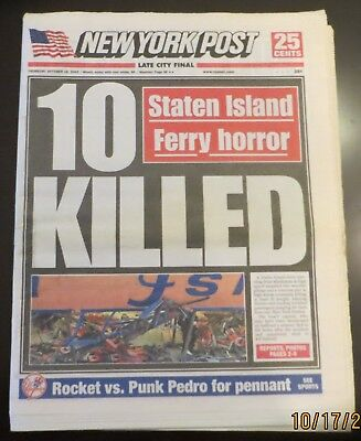 10/16/2003 - NY NEWSPAPER - STATEN ISLAND FERRY CRASHES - 10 DEAD / ALCS GAME 7  2003 Alcs Game 7