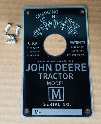 John Deere M Serial Number Tag Plate