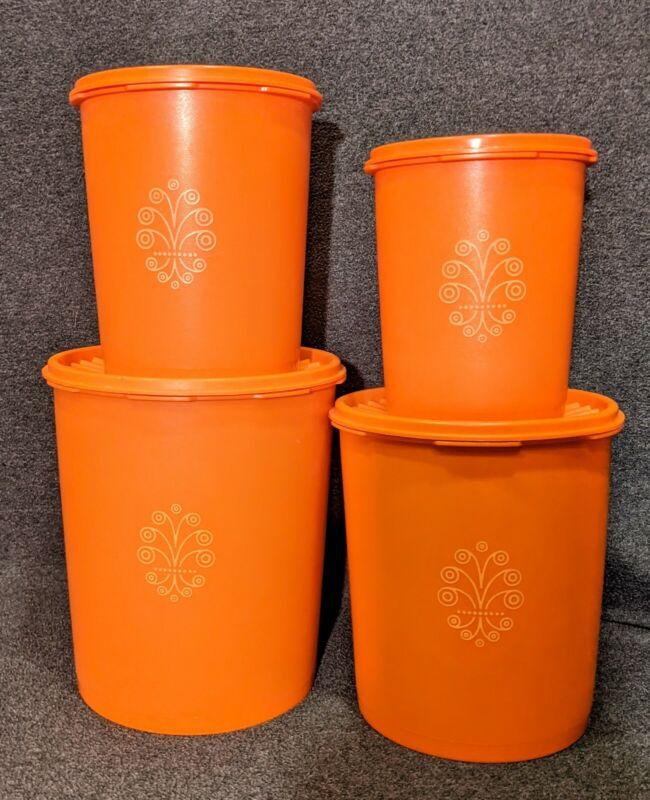 Vintage Mid Century Orange Tupperware Servalier Canister Set