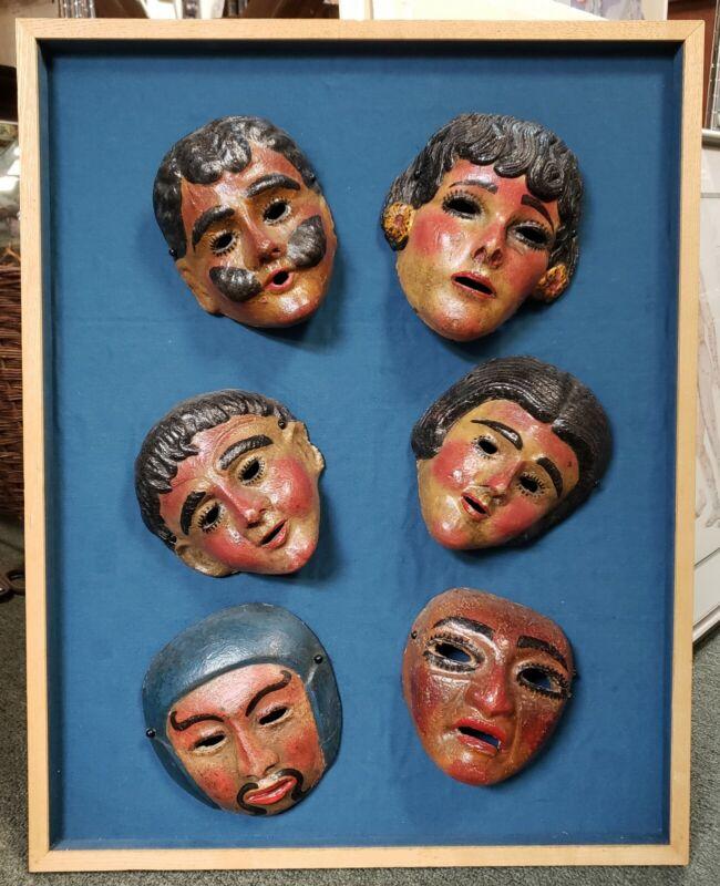 Set of 6 Mid 20th Century Guetamalan Clay Masks Set in Frame