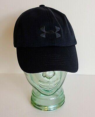 Womens Under Armour Free Fit Adjustable Cap Hat Solid Black Embroidered Logo