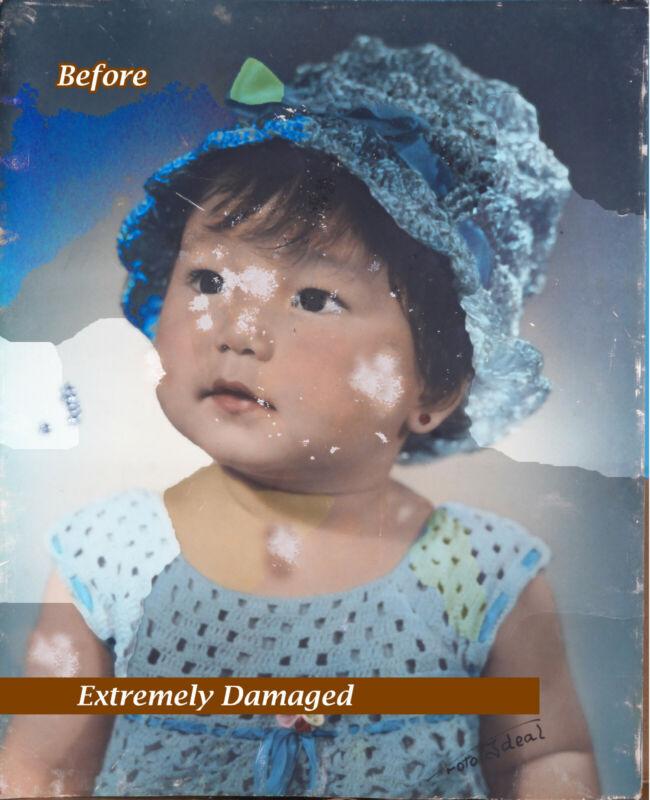 "Digital retouch - Extremely Damaged "" Photo Restoration "" - Pro Service"