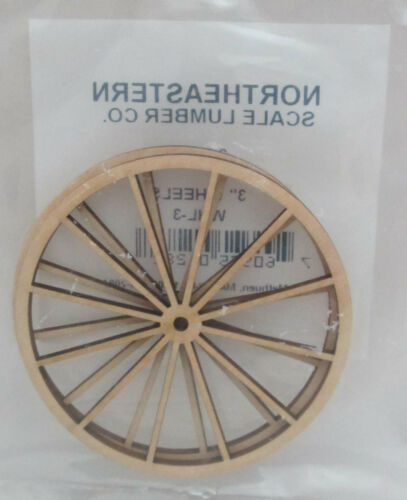 Dollhouse Miniature Northeastern 2 Laser Cut Unfinished Wood Wheels - 3""