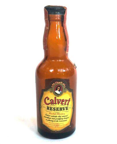 Vtg Calvert Reserve Miniature Liquor Bottle Whiskey Tax Strip Sealed Empty
